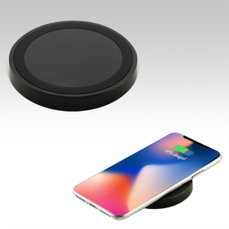 Insten Ultra Slim Fast Qi Wireless Charging Pad with Anti-Slip Base for Apple iPhone X XS 8 Plus Samsung Galaxy S9 S9+ Note 8 S8 & Qi-Enabled Devices Universal - (Apple Base)
