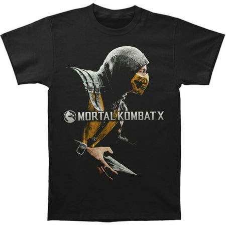 Mortal Kombat Men's  Scorpion T-shirt Black (Scorpion Mask Mortal Kombat)
