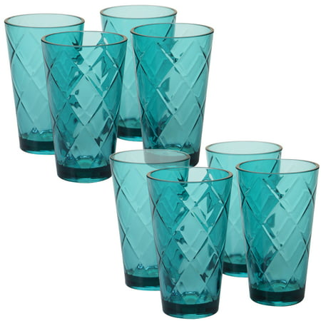 - Teal Set/8 Acrylic Ice Tea Glass 20 oz. (220 Grams)