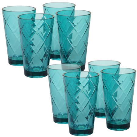 Teal Set/8 Acrylic Ice Tea Glass 20 oz. (220 (Green Double Old Fashioned Glass)