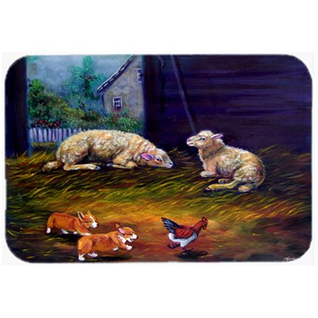 Carolines Treasures 7322MP Corgi Chaos In The Barn With Sheep Mouse Pad, Hot Pad & Trivet - image 1 de 1
