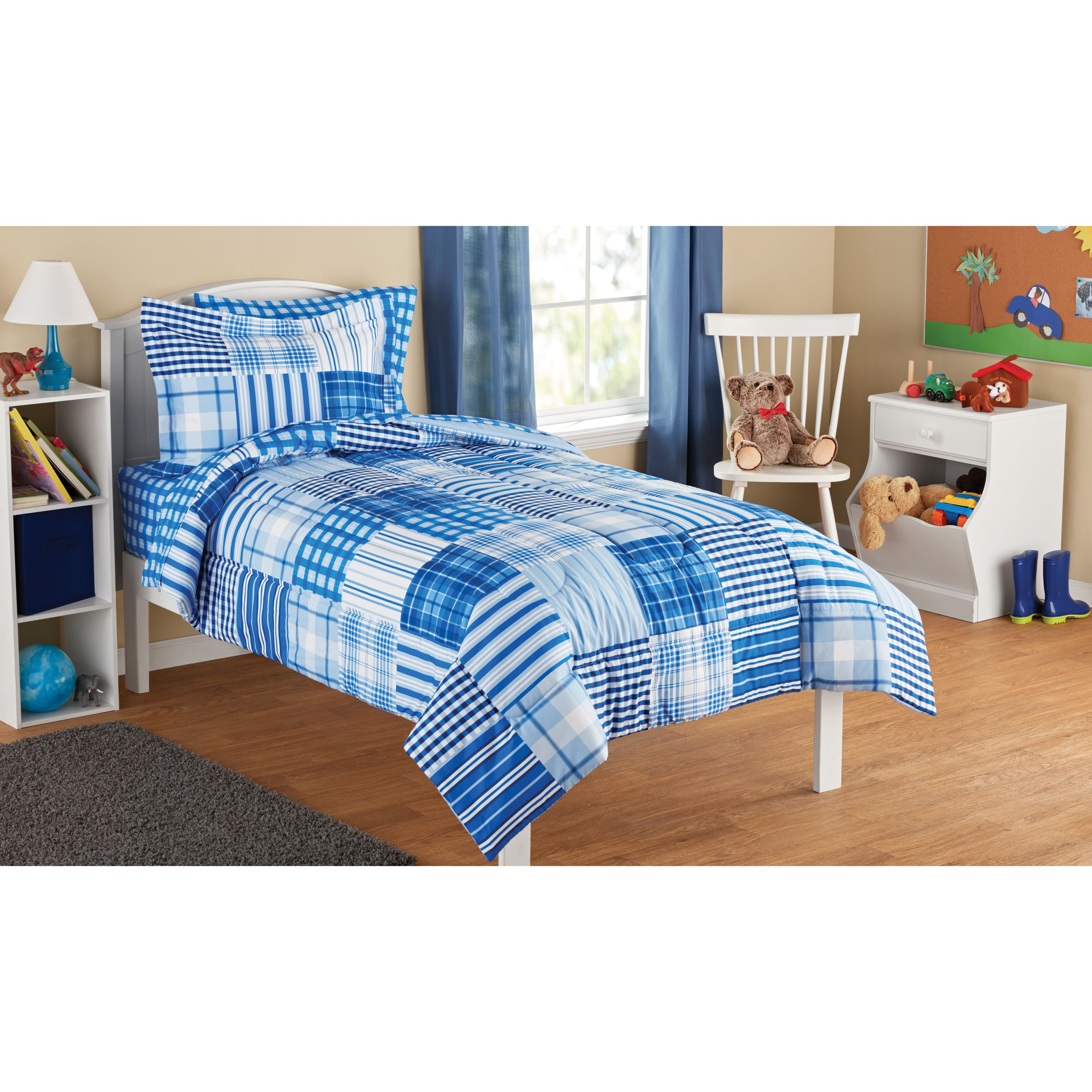 Mainstays Kids Plaid Patch Bed in a Bag