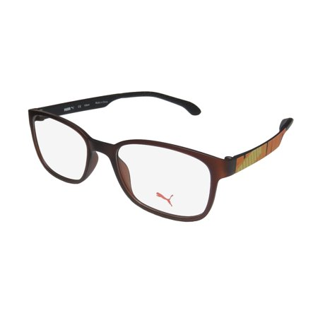 new puma 15440 mens/womens designer full-rim brown / yellow / orange frame demo lenses 48-17-135 eyeglasses/eyewear