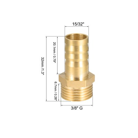 """Brass Barb Hose Fitting Connector Adapter 12mm Barbed x 3/8"""" G Male Pipe 2Pcs - image 1 of 4"""