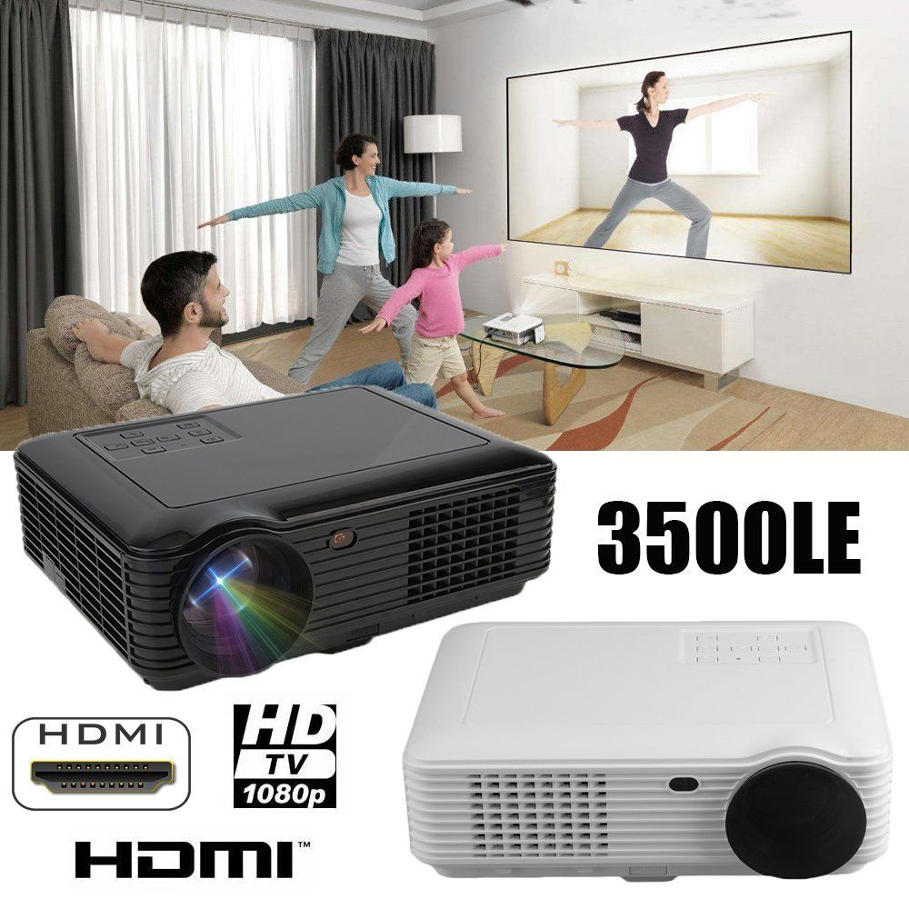 black 3D 1080P Projector Home Theater Cinema LED/LCD HDMI VGA AV