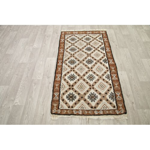 Bloomsbury Market Stonington Traditional Geometric Moroccan Hand-Knotted Wool Beige/Brown Area Rug