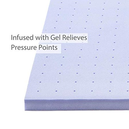 3 Inch 3? Queen Size Gel Infused Memory Foam Mattress Topper - Ventilated Design Bed Topper w/CertiPUR-US Certified Foam Support for Side, Back, Stomach Sleeper