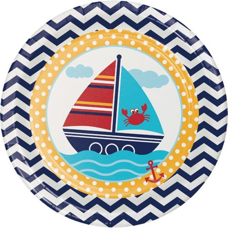 Creative Converting Ahoy Matey Nautical Paper Dessert Plate (Set of 24)