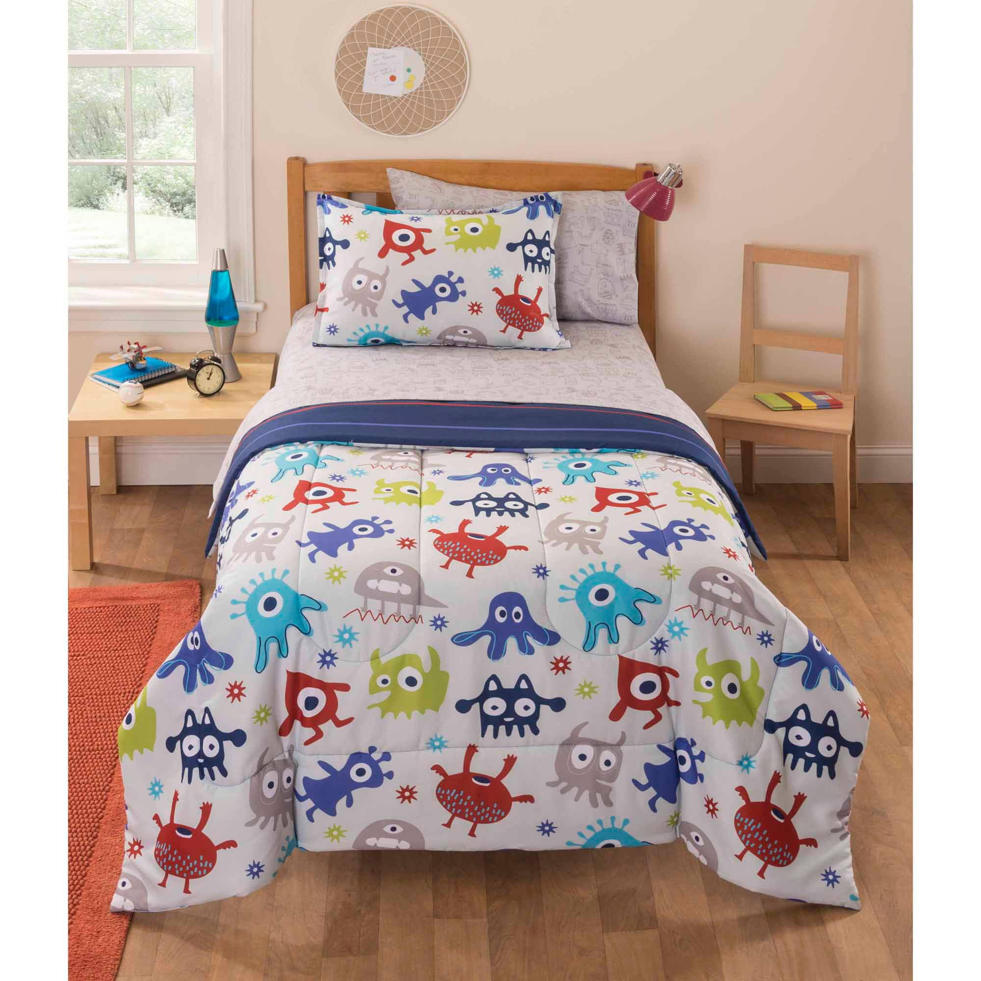Mainstays Kids Monster Stripe Bedding Bed in a Bag