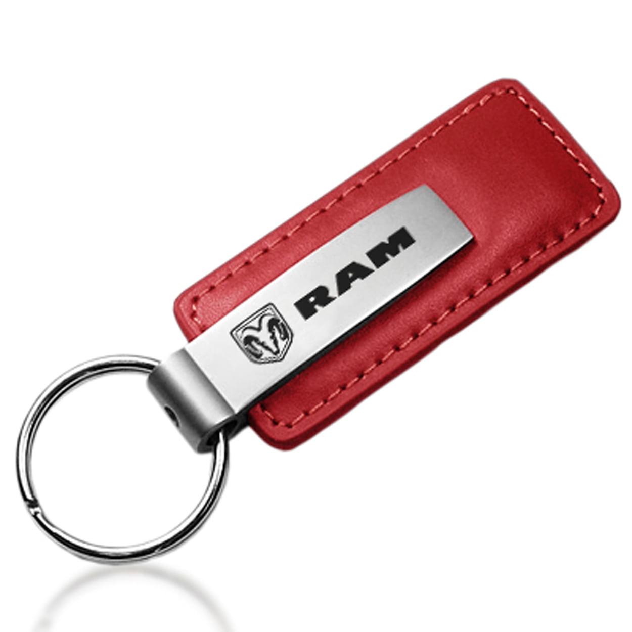Dodge RAM Logo Red Leather Key Chain