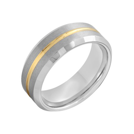 8mm Mens Gold Band (Men's Tungsten 8MM Gold Tone Stripe Wedding Band - Mens)