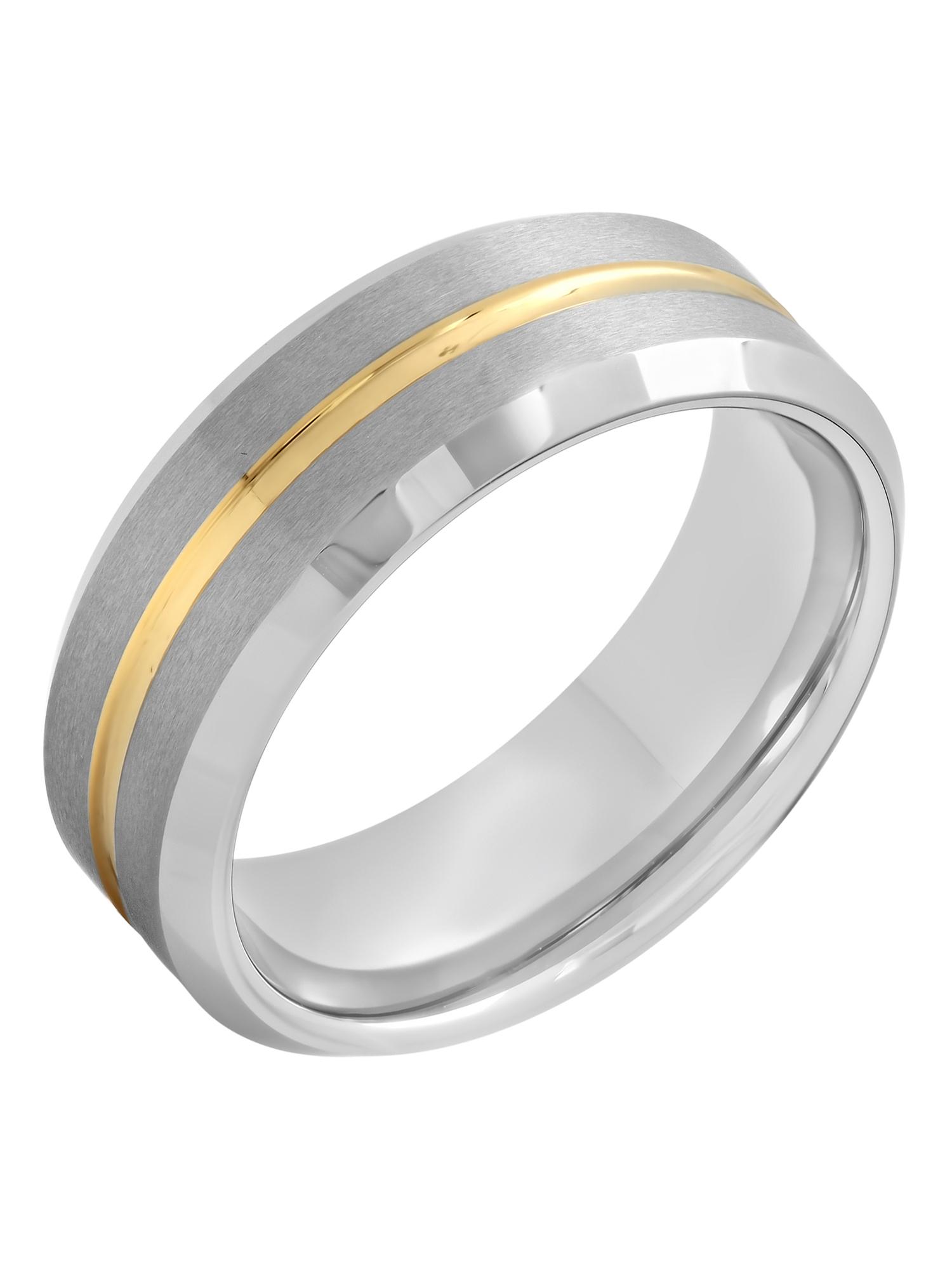 Men's Tungsten 8MM Gold Tone Stripe Wedding Band - Mens Ring
