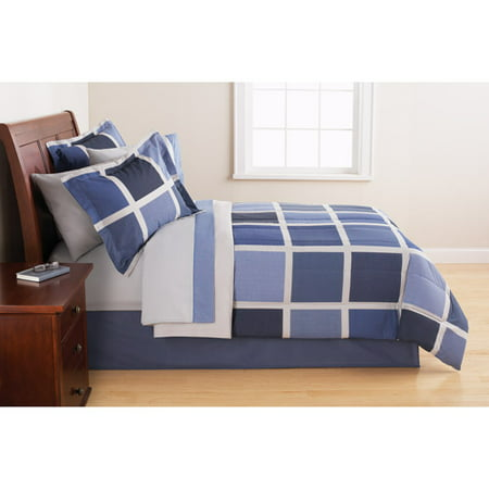 Mainstays Block Blue Bed in a Bag Bedding Set