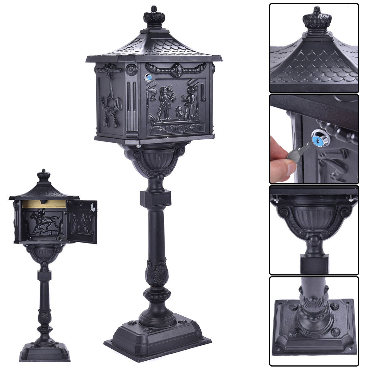 Costway Mail Box Heavy Duty Mailbox Postal Box Security Cast Aluminum Vertical Pedestal by Mailboxes
