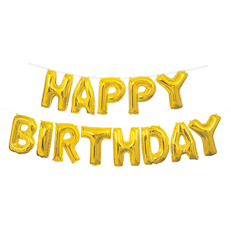 "Foil ""Happy Birthday"" Letter Balloon Banner Kit, 14 in, Gold, 13pc"
