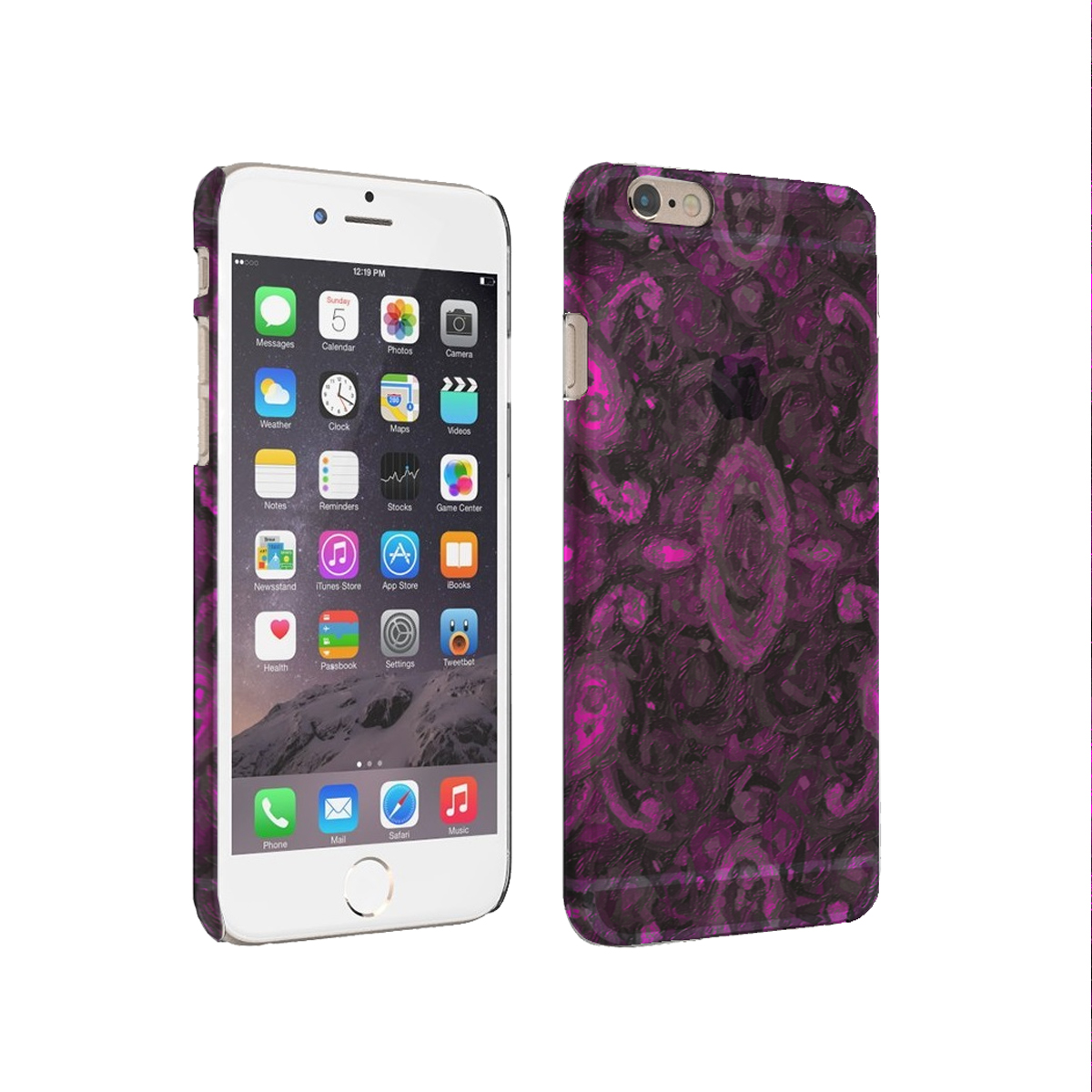 KuzmarK iPhone 6 Plus Rubber Cover Case - Paisley Pink Painting