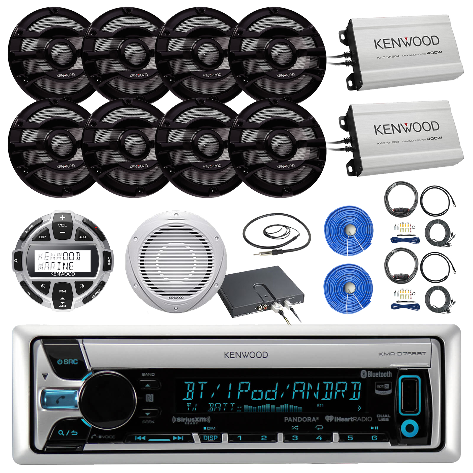 """36' - 42' Boat System: Kenwood CD MP3 Bluetooth Receiver, 8 x 8"""" 2 Way Speakers Black, Remote Control, 2 x 4-channel Amp, 2 x Amp Installation Kit, 10"""" Woofer, 100ft Speaker Wire, Antenna – 22"""""""