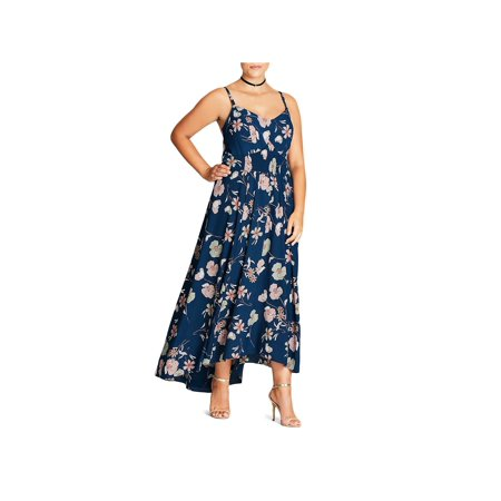 (City Chic Womens Plus Smocked Floral Maxi Dress)