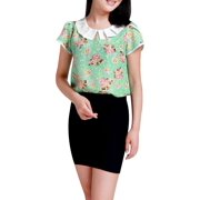 Women's Pleated Peter Pan Collar Floral Tops Green (Size L / 12)