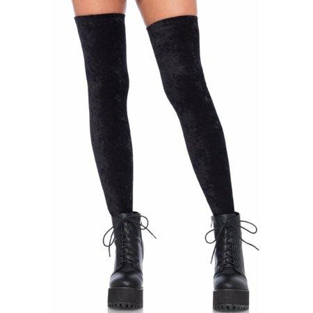 Womens Soft Crushed Velvet Thigh High Over the Knee Tights Socks 6346-Black for $<!---->
