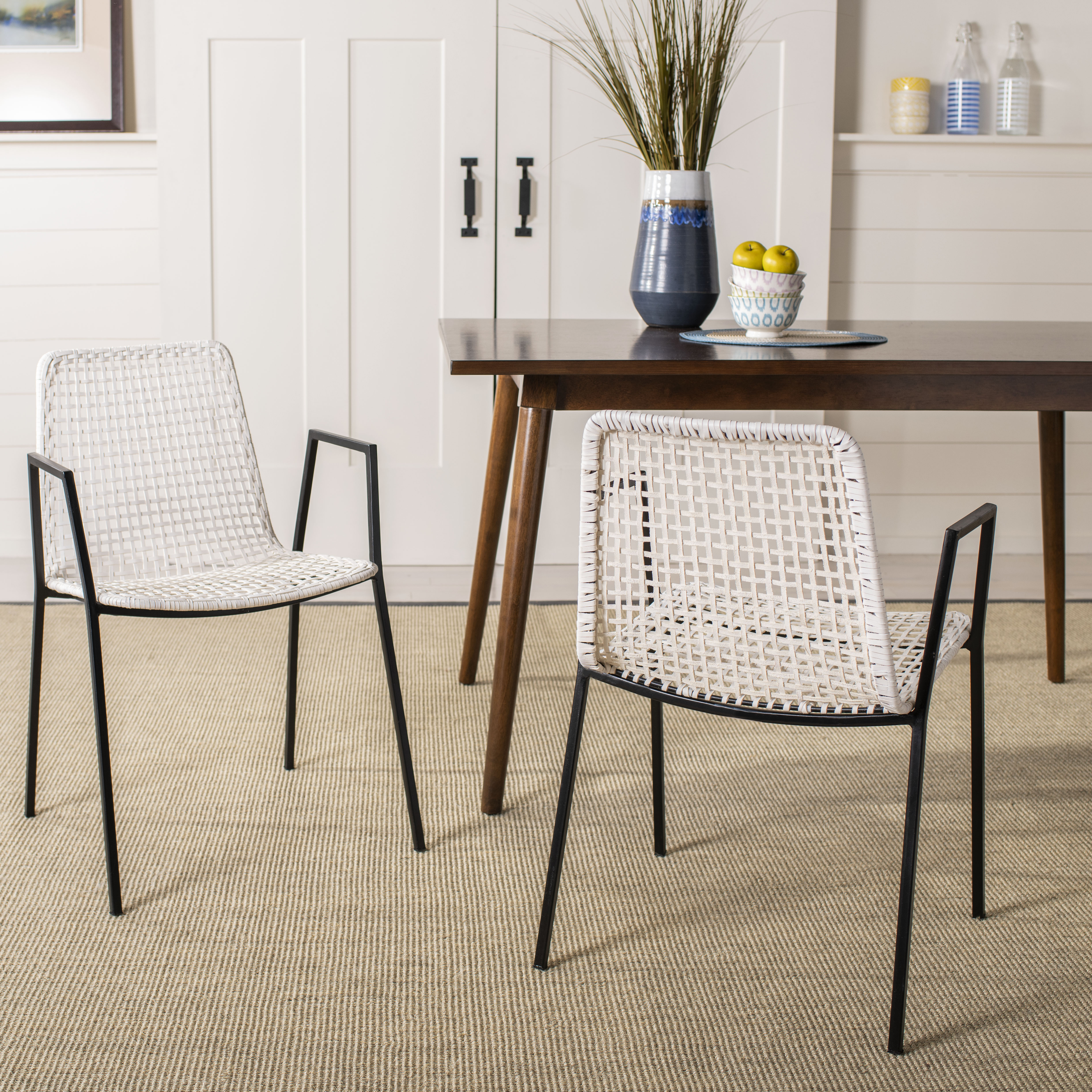 Picture of: Safavieh Wynona Modern Glam Leather Woven Dining Chair Set Of 2 Walmart Com Walmart Com