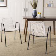 Safavieh Wynona Modern Glam Leather Woven Dining Chair, Set of 2
