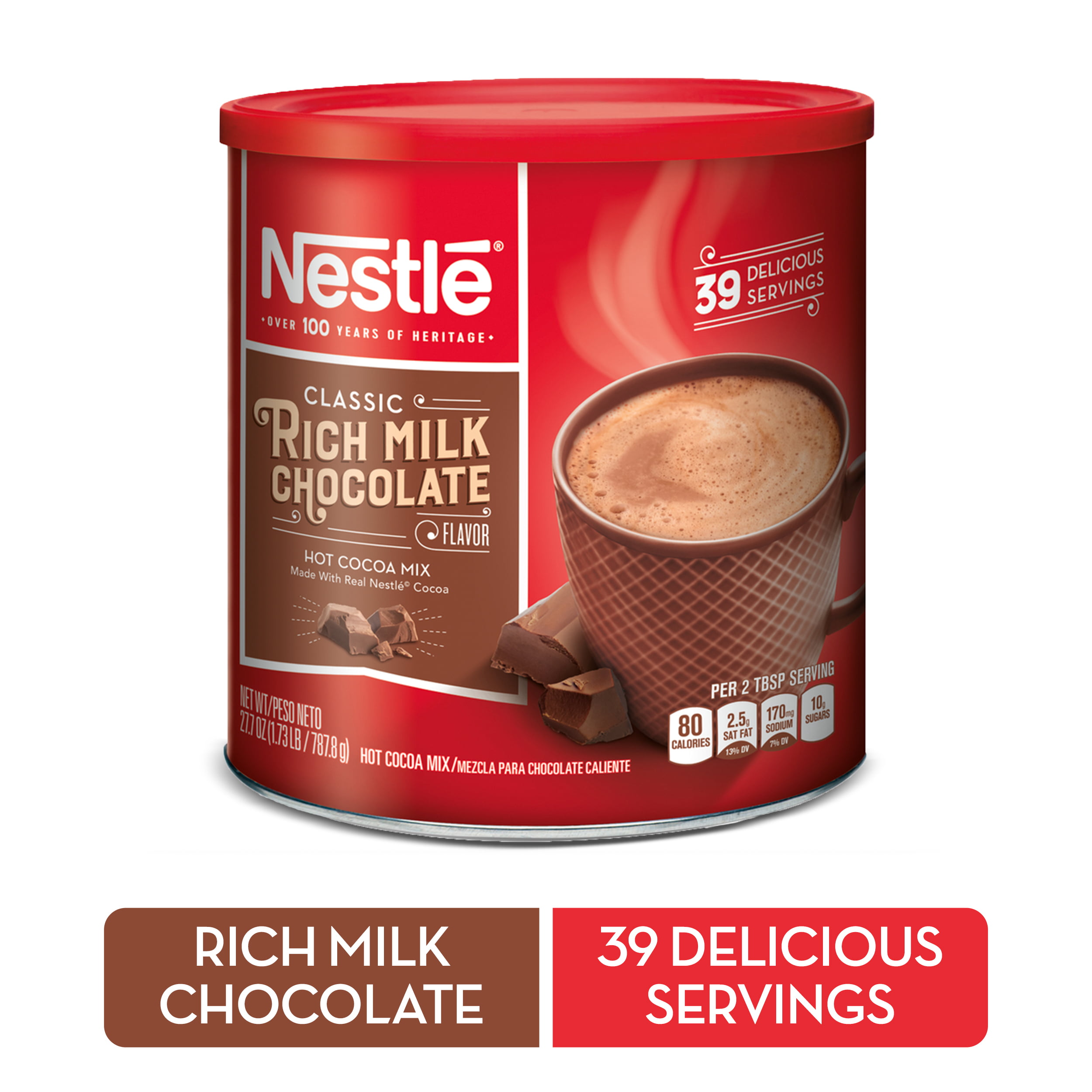 Nestle Rich Milk Chocolate Hot Cocoa Mix 277 Oz Canister