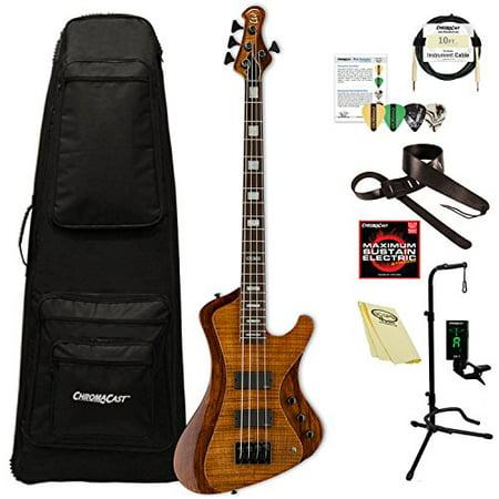 ESP LSTREAM1004FMWBR Stream Series 4-String Solid Flamed Maple Top Electric Bass, Walnut -