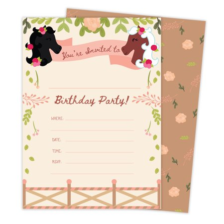 Horse Party Invitations (Pony Horse Style 3 Happy Birthday Invitations Invite Cards (25 Count) with Envelopes & Seal Stickers Boys Girls Kids)