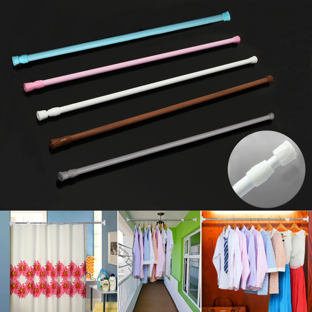 Girl12Queen Extendable Telescopic Spring Loaded Tension Curtain Voile Net Shower Rod Pole