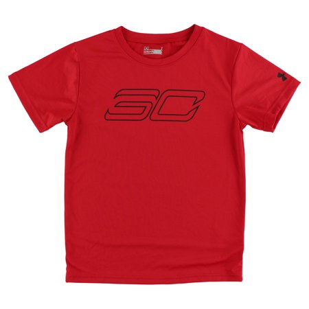 Under armour boys steph curry short sleeve shirt red for Under armour shirts at walmart