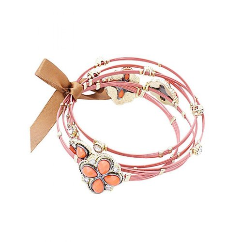 Le Chic Coral Epoxy Stone Crystal Wire Bangle Set by Brand New