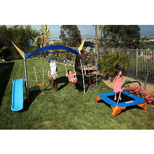 IronKids Inspiration 700 Fitness Playground Metal Swing Set with Trampoline, Rope Climb and UV Protective Sunshade