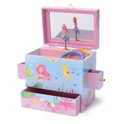 JewelKeeper Musical Jewelry Box with 3 Drawers, Mermaid Underwater Design, Over the Waves Tune