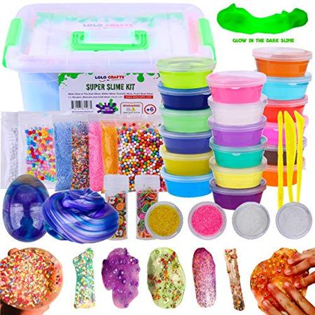 Making Halloween Crafts At Home (DIY Slime Kit Supplies Kids  Ready Slimes Making Kits Craft for Girls Boys Children Set Includes Big Box, Glow Powder, Fluffy Slim, Clear Slime, Glitter, Egg Putty Fruit Slices,)