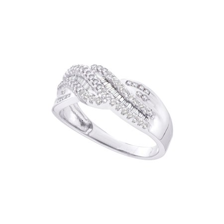 14kt White Gold Womens Round Baguette Diamond Stripe Crossover Band 1/2 Cttw
