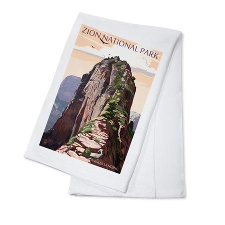 Zion National Park, Utah - Angels Landing & Condors - Lantern Press Artwork (100% Cotton Kitchen Towel)