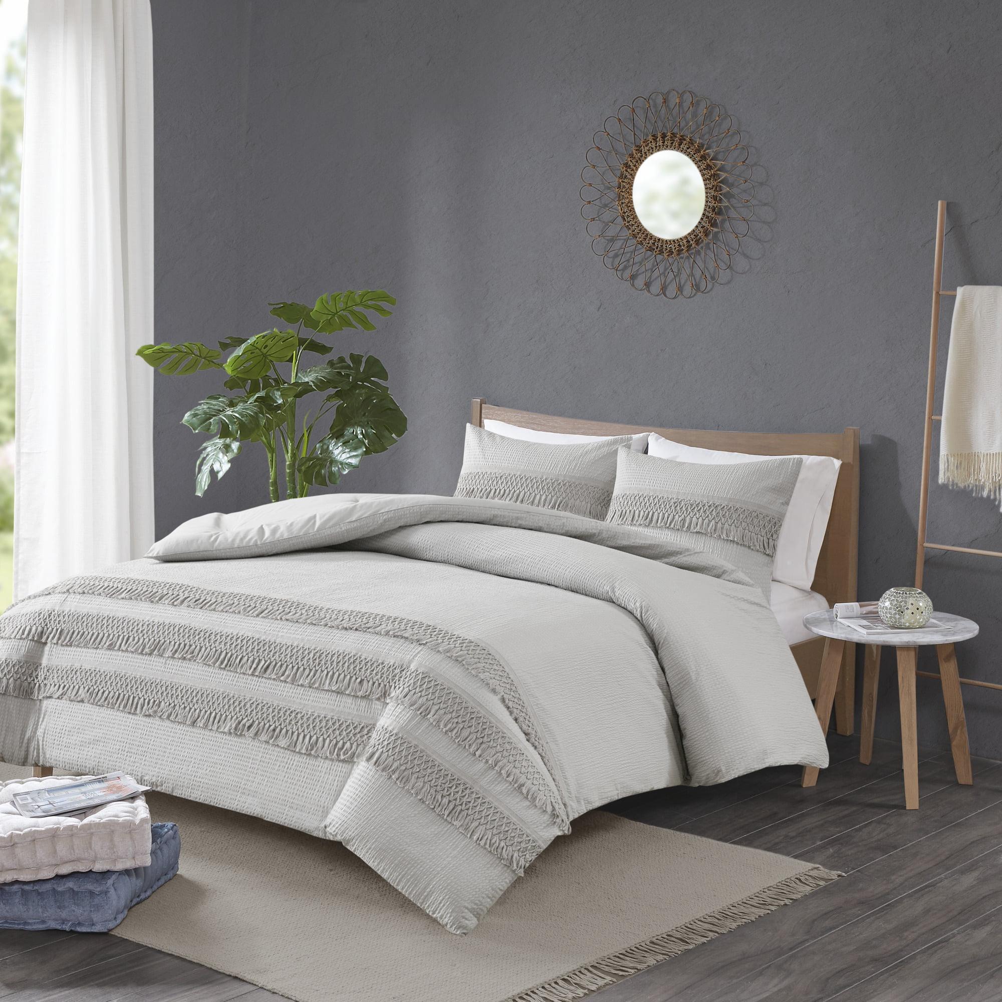 SeerSucker Duvet Quilt Cover Pillowcase Bedding Set Polly Cotton Stripe Bed Sets
