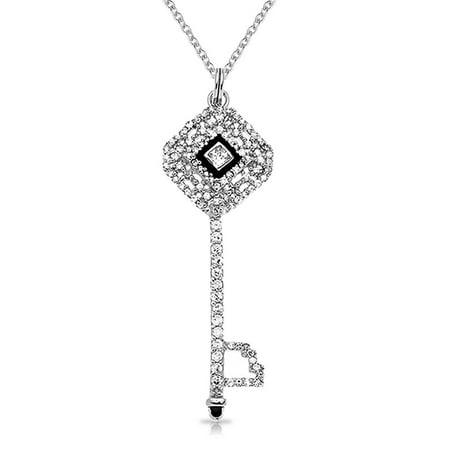 925 Silver CZ Square Black Enamel Key Pendant Necklace 18in ()