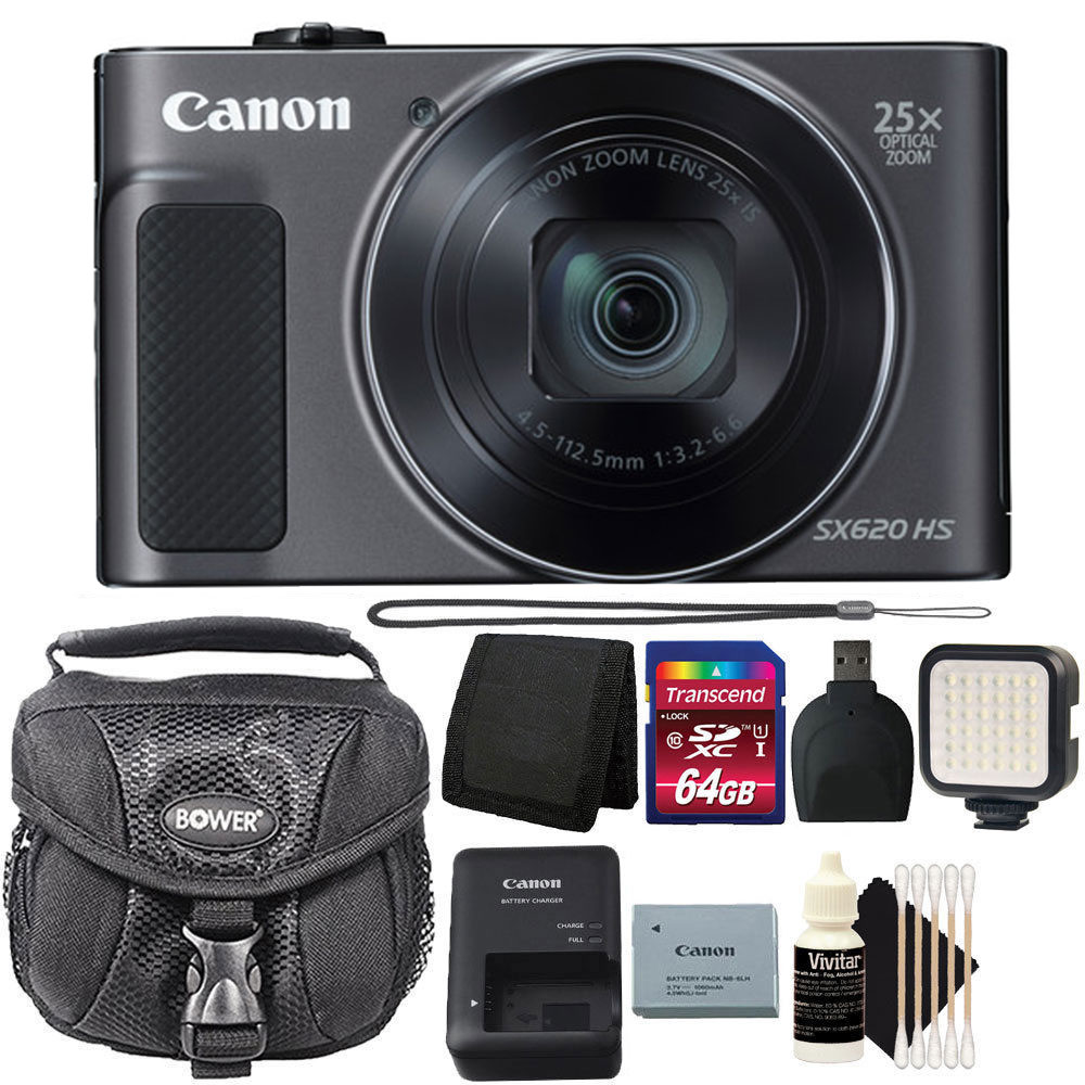Canon PowerShot SX620 HS 20.2 MP 25X Optical Zoom Wifi / NFC Enabled Point and Shoot Digital Camera Black with 64GB Bundle