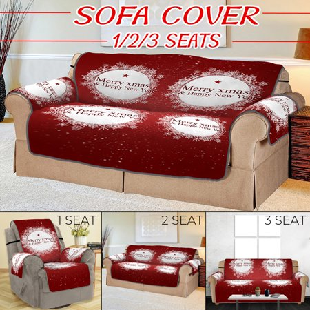 Christmas Festive Xmas Home Decor Quilted Quick Drape Reversible Furniture Cover Faux Suede Furniture Sofa Protector Features Protect from Dogs/Cats, Spills, Wear and Tear - Red Furniture Covers Soft Suede