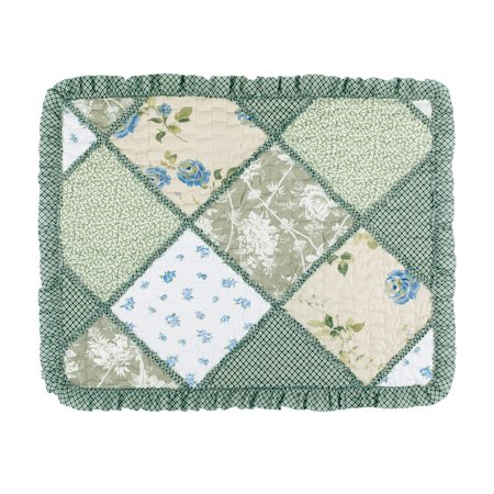 Country European Sham (Maya Patchwork Pillow Sham with Ruffled Edge and Light Floral Pattern, Quilted Stitching, Country Charm, Gray, Light Green, Light Blue, Sham, Green )