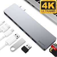 "4K HDMI Combo Hub Adapter for MacBook Pro 13"" & 15"" 2016/2017, EQUIPD Aluminum 8 in 1 USB Type C Charging Port, Thunderbolt 3 port, MicroSD/SDHC/SDXC Card Reader, 3 USB 3.0 Ports - Grey"