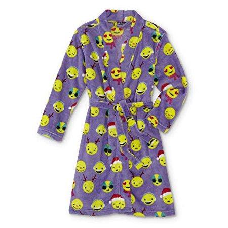 Girls' Plush Fleece Holiday Emoji Santa Robe Pajamas (Large 10/12)