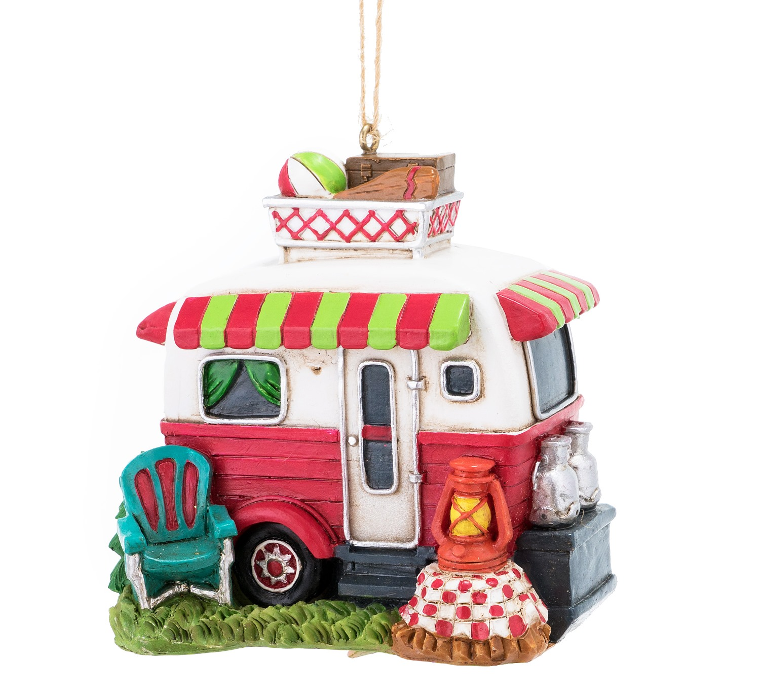 Travel Trailer Set Up at Campground Christmas Holiday Ornament 3 Inches