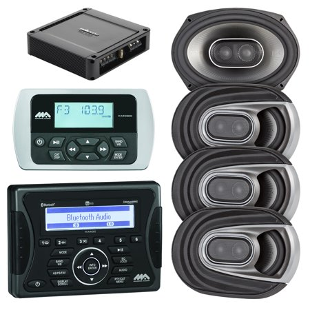 Jensen Marine Audio Ma400 Bluetooth Usb Ipod Iphone Stereo Receiver  Wired Remote Control  4X Polk Audio Mm Series Marine 6X9   3 Way Car   Boat Speakers  Polk Audio Pa330 330W 2 Channel Amplifier