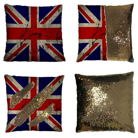 Union Jack Cushions (GCKG British Flag Pillowcase, Union Jack Flag Vintage Style Reversible Mermaid Sequin Pillow Case Home Decor Cushion Cover 16x16)