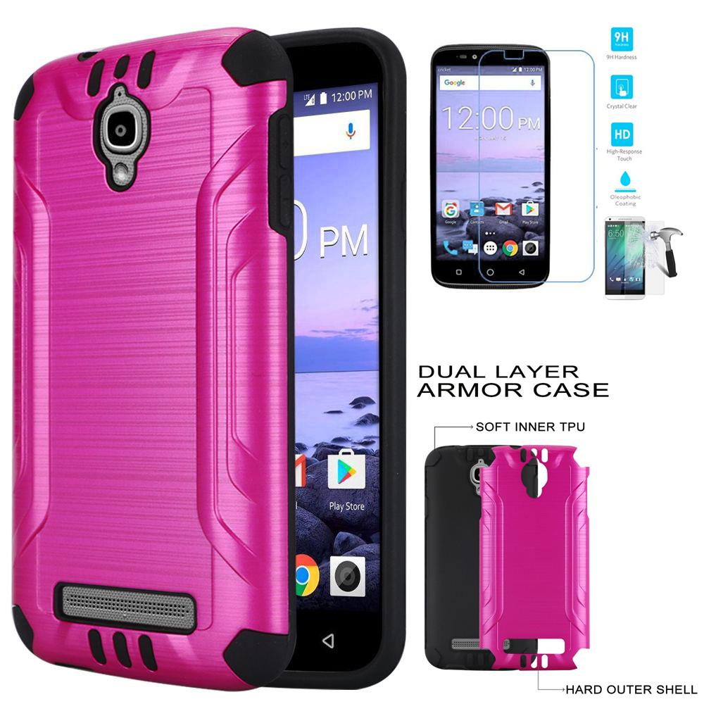 Phone Case for Coolpad Canvas DCPN5002 (Cricket Wireless) Tempered Glass Screen with Cover (Combat Pink-Black TPU/ Tempered Glass)