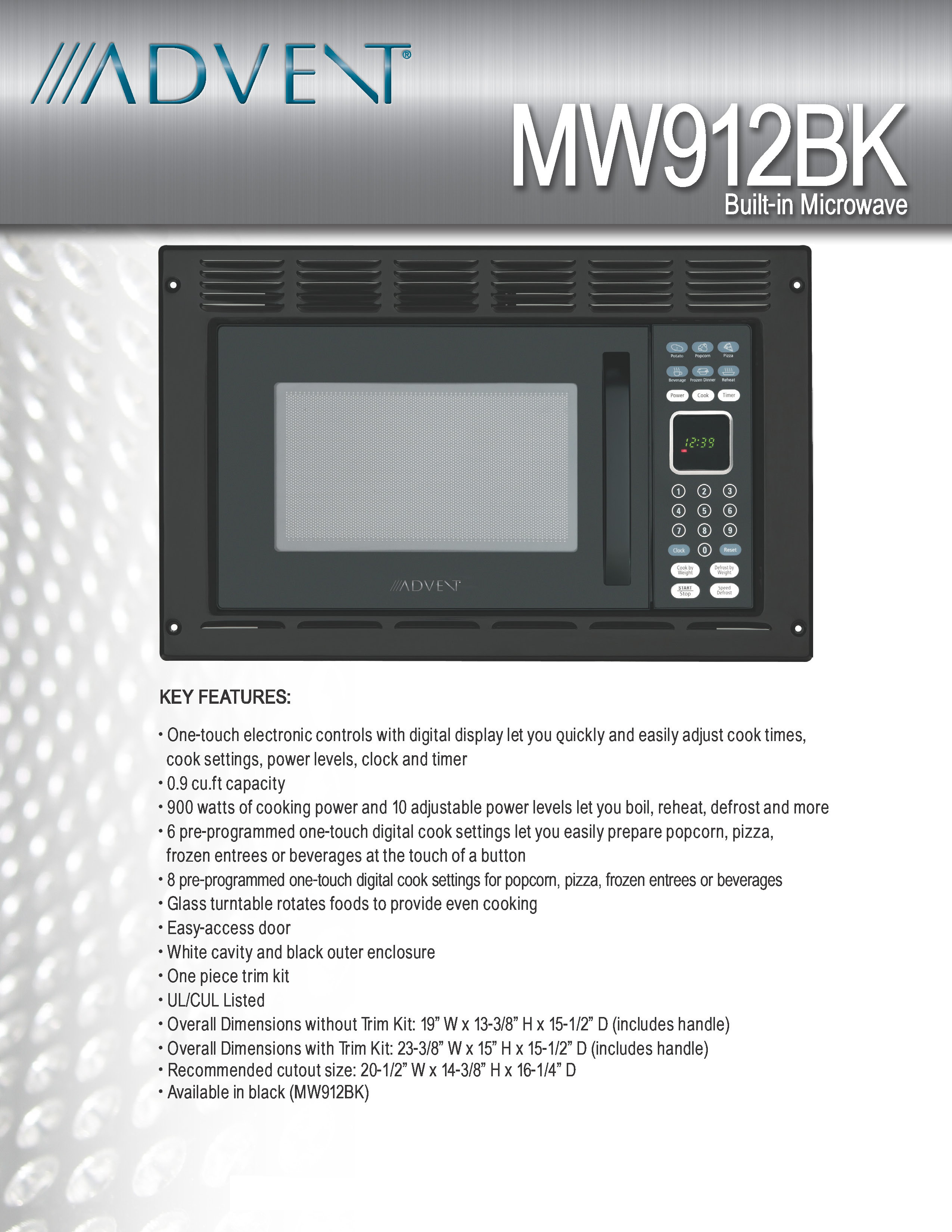 Advent MW912BK Black Built In Microwave Oven With Trim Kit, Specially Built  For RV, Recreational Vehicle, Trailer, Camper, Boat, Yacht, Motor Home  Etc., ...