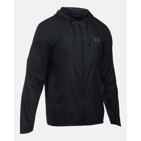 Under armour men 39 s leeward windbreaker jacket black for Under armour shirts at walmart